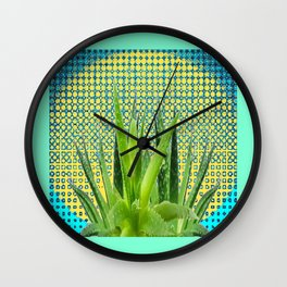 MODERN ALOE VERA SUCCULENT OPTICAL ART Wall Clock