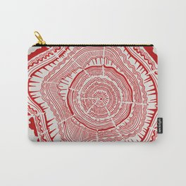 Red Tree Rings Carry-All Pouch