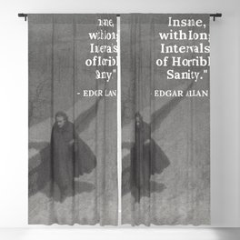 Edgar Allan Poe - I became insane with long intervals of horrible sanity -  Walking the Bronx's High Bridge black and white photograph Blackout Curtain