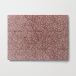 Pink and Grey Hexagon Geometric Pattern Metal Print