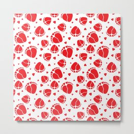 Baby Feet and Hearts Seamless Pattern in red color Metal Print