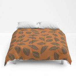 Falling leaves in rust and brown Comforters