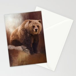 Great Strength - Grizzly Bear Art by Jordan Blackstone Stationery Cards