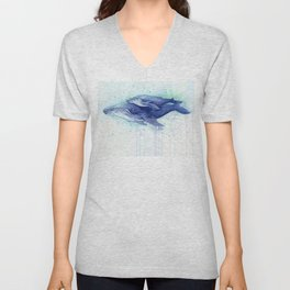Humpback Whale Watercolor Mom and Baby Painting Whales Sea Creatures Unisex V-Neck
