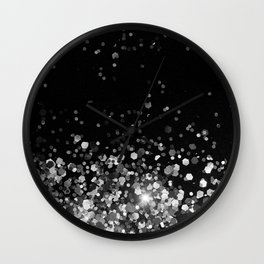 Silver Gray Black Glitter #3a (Faux Glitter - Photography) #shiny #decor #art #society6 Wall Clock