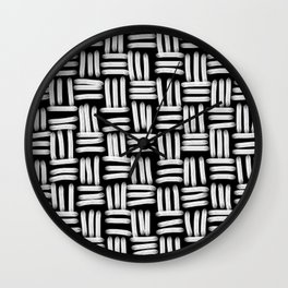 Black and White Basketweave Strokes Wall Clock