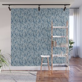 Light Blue Leaves Wall Mural