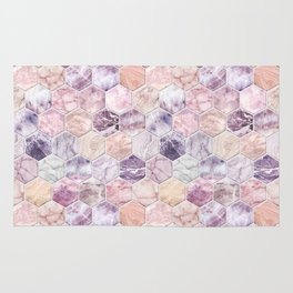Rose Quartz and Amethyst Stone and Marble Hexagon Tiles Rug