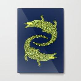 Crocodiles (Deep Navy and Green Palette) Metal Print