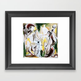 Expressive Musicians Playing Cello Flute Accordion Saxophone drawing Framed Art Print