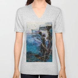 Midnight Sky, Acrylic artwork Unisex V-Neck