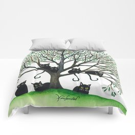 Borders Whimsical Cats in Tree Comforters