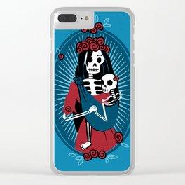 Skeleton Mother & Child - Dia de los Muertos - Blue Clear iPhone Case