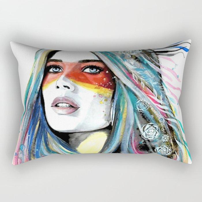 BOHO-GIRL-FEATHER Rectangular Pillow