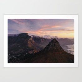 Table Mountain Lions Head | Capetown | Aerial Photography Art Print