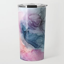 Heavenly Pastels: Original Abstract Ink Painting Travel Mug