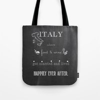italy Tote Bags featuring Italy by weisart
