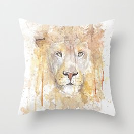 "Watercolor Painting of Picture ""African Lion"" Throw Pillow"