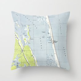 Vintage Northern Outer Banks Map (1940) Throw Pillow