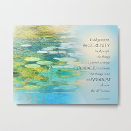 Serenity Prayer Koi Pond Blue Green Metal Print