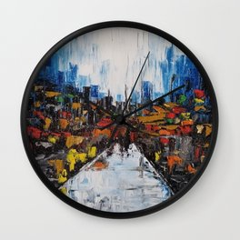 City of Reflections, NYC art, abstract city, city scape, colorful city Wall Clock