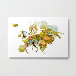 Adventurous map with the wild animals of Europe Metal Print