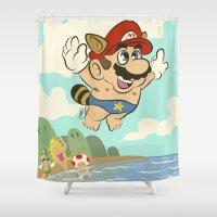 super mario Shower Curtains featuring Super Mario! by Ismael Álvarez