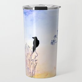 Watercolor Painting of a Bird on  Branch Travel Mug