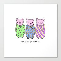 blankets Canvas Prints featuring Pigs in Blankets by Charlotte Lucy