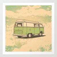 vw bus Art Prints featuring VW Bus by QRS Patterns
