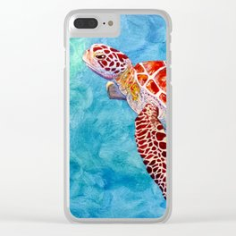 Sea turtle and friend Clear iPhone Case
