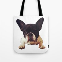 frenchie Tote Bags featuring Frenchie by lori