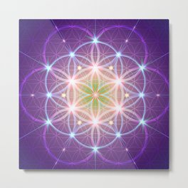 Purple Flower of Life Metal Print