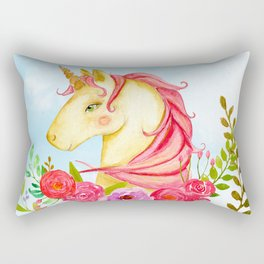 Floral Unicorn Rectangular Pillow