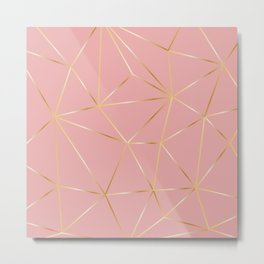 Gold Pink Polygon Metal Print