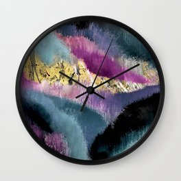 Gemini: a vibrant, colorful abstract piece in gold, purple, blue, black, and white Wall Clock