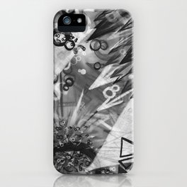 Abstract charcoal painting - Black and White iPhone Case