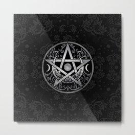 Pentagram Ornament - Silver and Black Metal Print