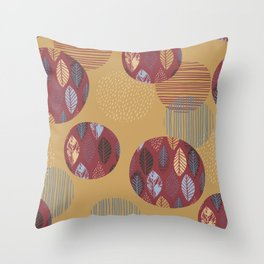 Geometrical brown blue burgundy hand painted autumn leaves Throw Pillow