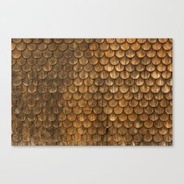 Weathered wall of wooden shingles Canvas Print