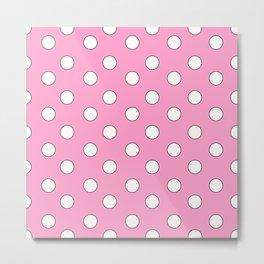 Pink Pastel Polka Dots Metal Print