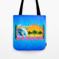 hawaiian Tote Bags featuring Hawaiian Surfing by MacDonald Creative Studios