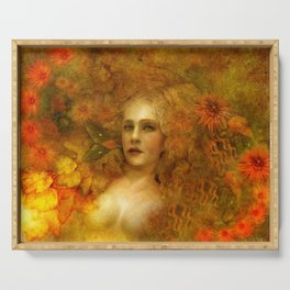 """Ophelia among golden oriental flowers"" Serving Tray"