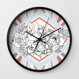 Floral Fox Wall Clock