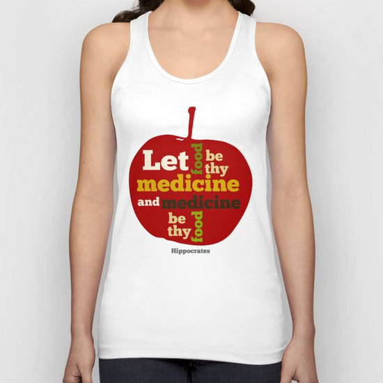 Apple Let food be thy medicine and medicine be thy food. Unisex Tank Top