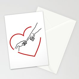 The creation of Adam- The hands of God and Adam within a red heart Stationery Cards