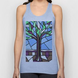 Stained Glass Tree Design Unisex Tank Top