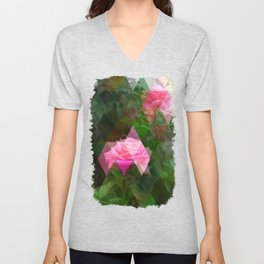 Pink Roses in Anzures 5 Art Triangles 1 Unisex V-Neck
