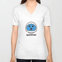 spaceman V-neck T-shirts featuring SPACEMAN by Joel Danielsson