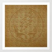 grateful dead Art Prints featuring Vintage Grateful Dead Steal Your Face Pattern by Studio 535
